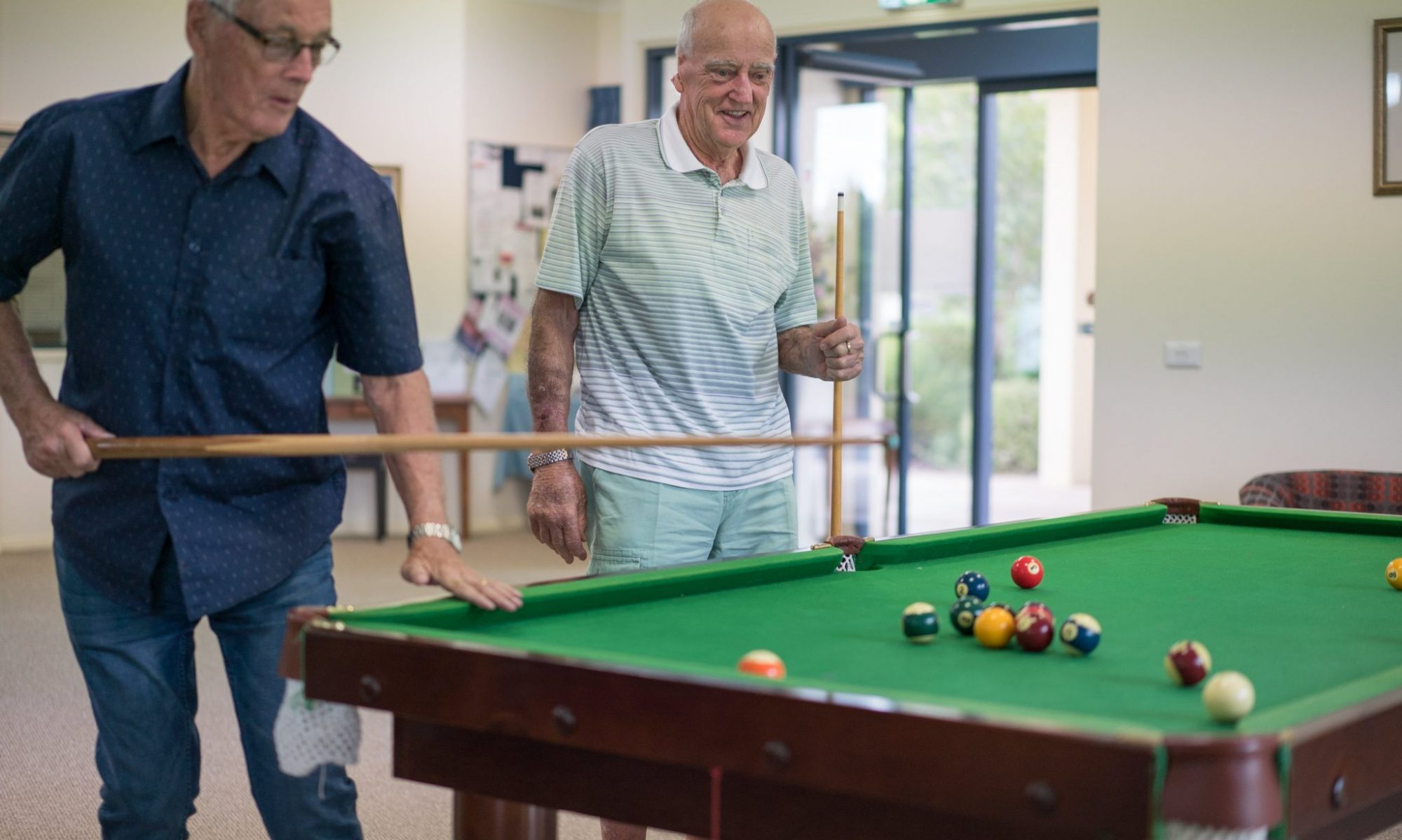 In-village activities included pool and billiards with new friends at Park Hall Village Wodonga - Wodonga-00426